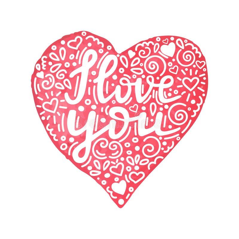 Eu te amo citações escritas mão no coração tirado mão da aquarela com ornamento floral Cartão feito à mão do dia de Valentim ilustração do vetor
