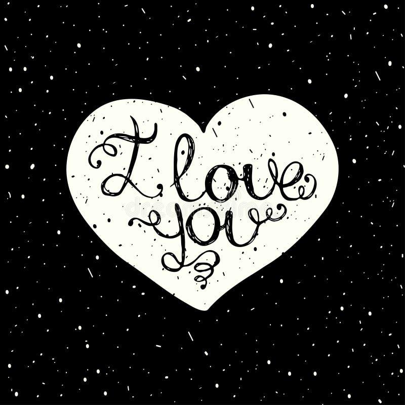 Eu te amo com rotulação da mão no coração ilustração royalty free
