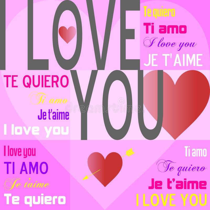 Eu te amo [cor-de-rosa] ilustração royalty free