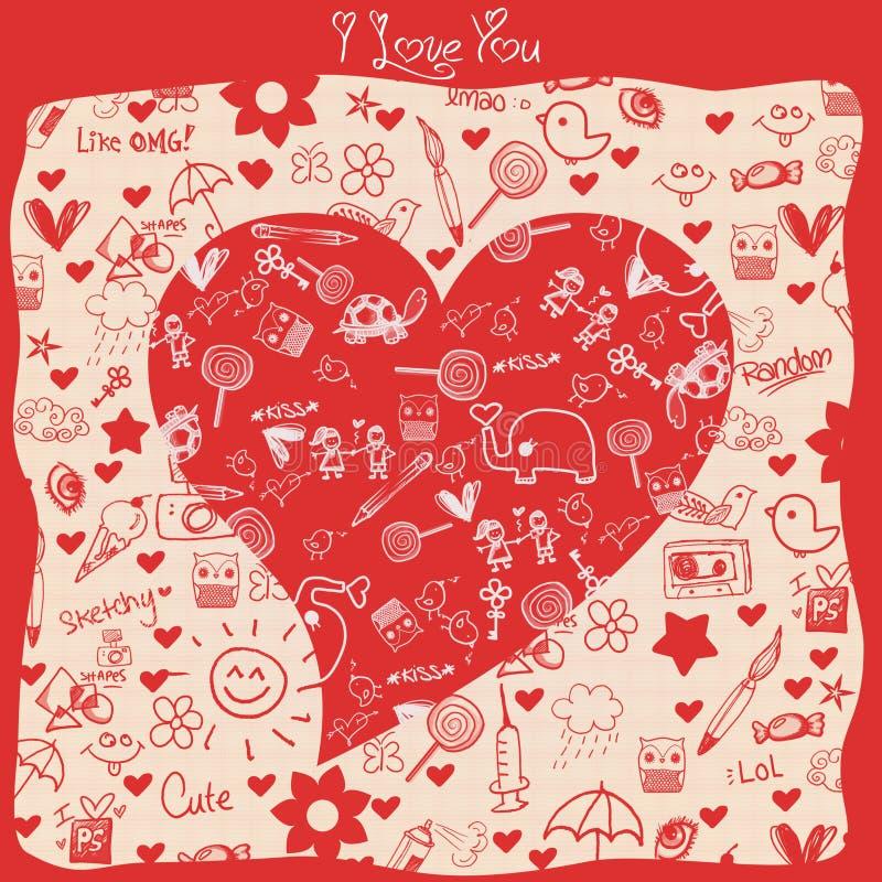 Eu te amo - corações - coleção das garatujas ilustração do vetor