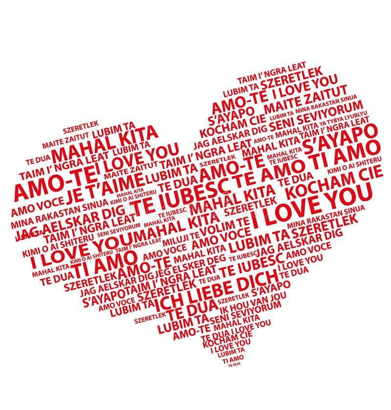 Eu te amo em todas as línguas ilustração royalty free