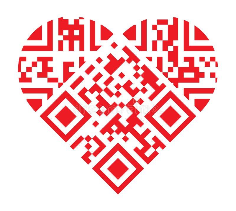 Eu te amo forma vermelha do coração do código de QR