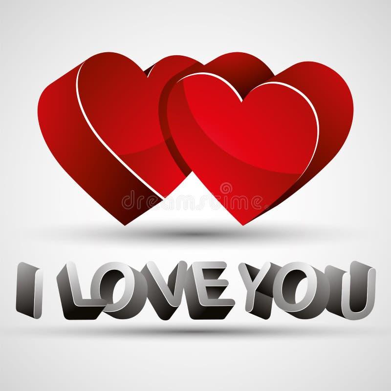 Eu te amo frase feita com letras 3d e isolat vermelho de dois corações ilustração do vetor
