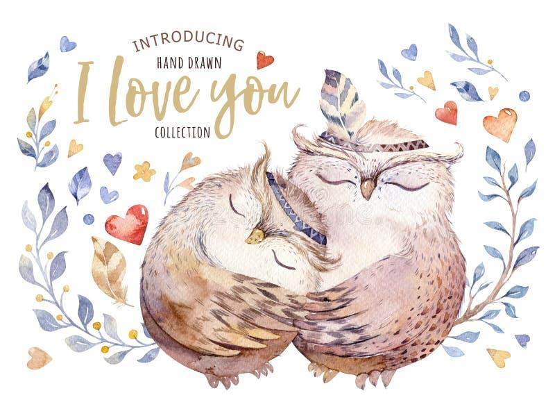 Eu te amo Ilustração bonita da aquarela com corujas, corações e as flores doces em cores impressionantes Romântico impressionante ilustração stock