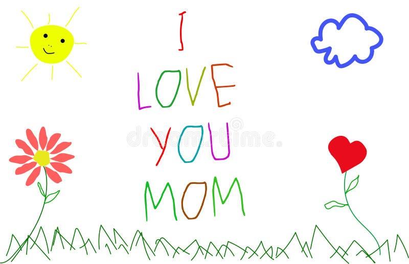 Eu te amo, mãe Imagem que uma criança desenha para sua mãe imagem de stock