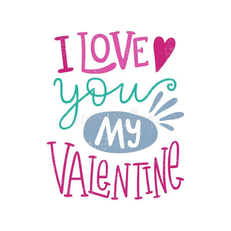 Eu te amo meu Valentim Corações Dia do `s do Valentim Rotulação tirada mão citações imagem de stock royalty free