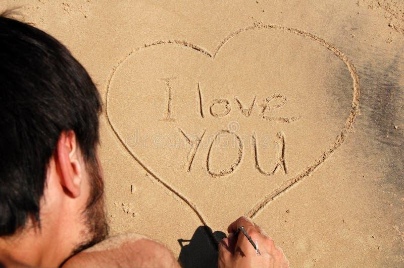 Eu te amo, na areia fotos de stock royalty free