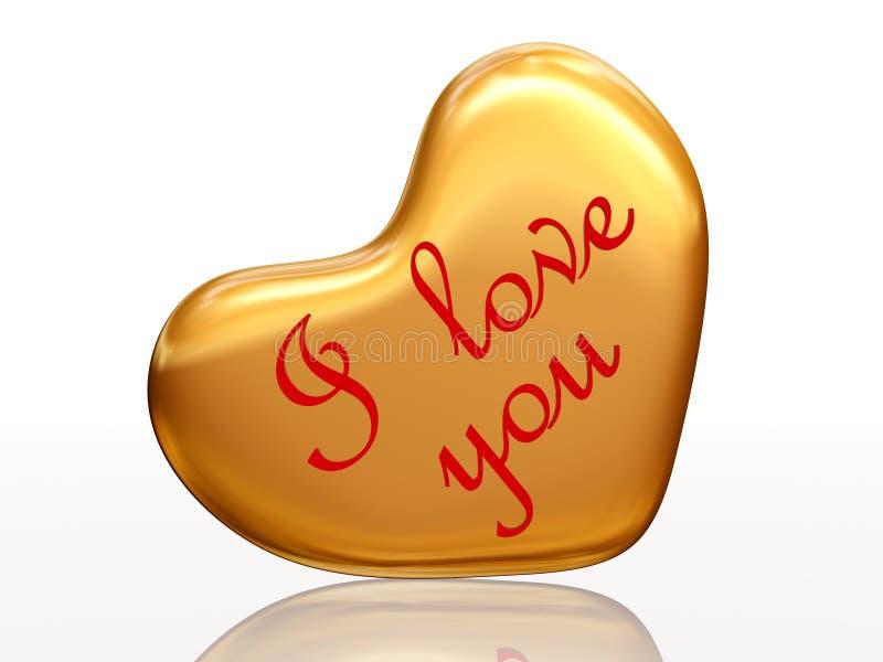 Eu te amo no coração dourado ilustração do vetor