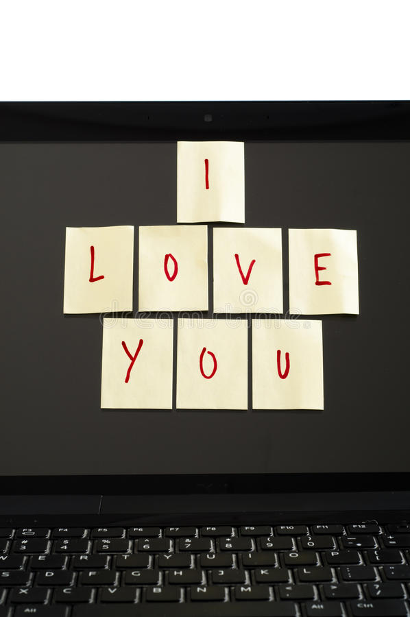 Eu te amo notas no computador fotografia de stock
