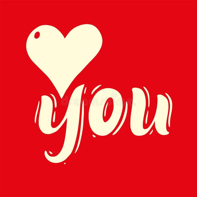 Eu te amo rotulação escrita à mão do vetor da frase Ilustração do vetor de Valentine Greeting Card com coração ilustração stock