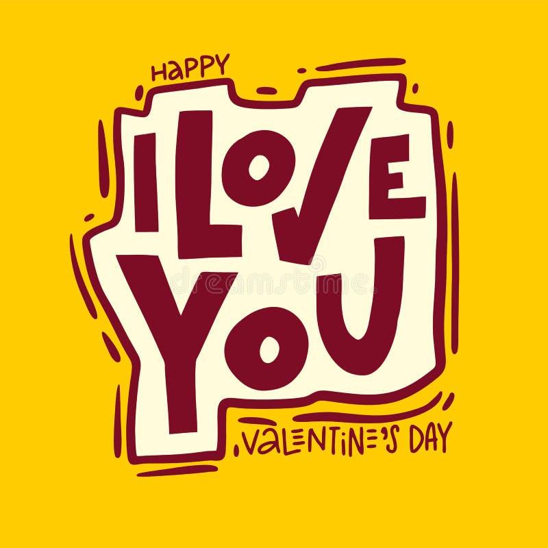 Eu te amo rotulação escrita à mão do vetor da frase Ilustração do vetor de Valentine Greeting Card com coração ilustração royalty free