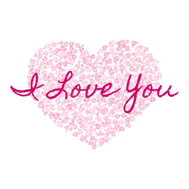 Eu te amo texto no fundo da forma cor-de-rosa dos corações Molde do dia de Valentim de Saint Cart?o do vetor ilustração royalty free