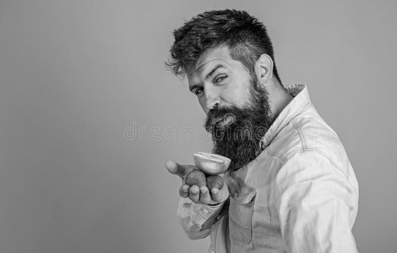 Eu tenho deleites para voc? Morangos e ma?? farpadas das posses do moderno na palma A cara astuto do homem com barba oferece org? fotografia de stock