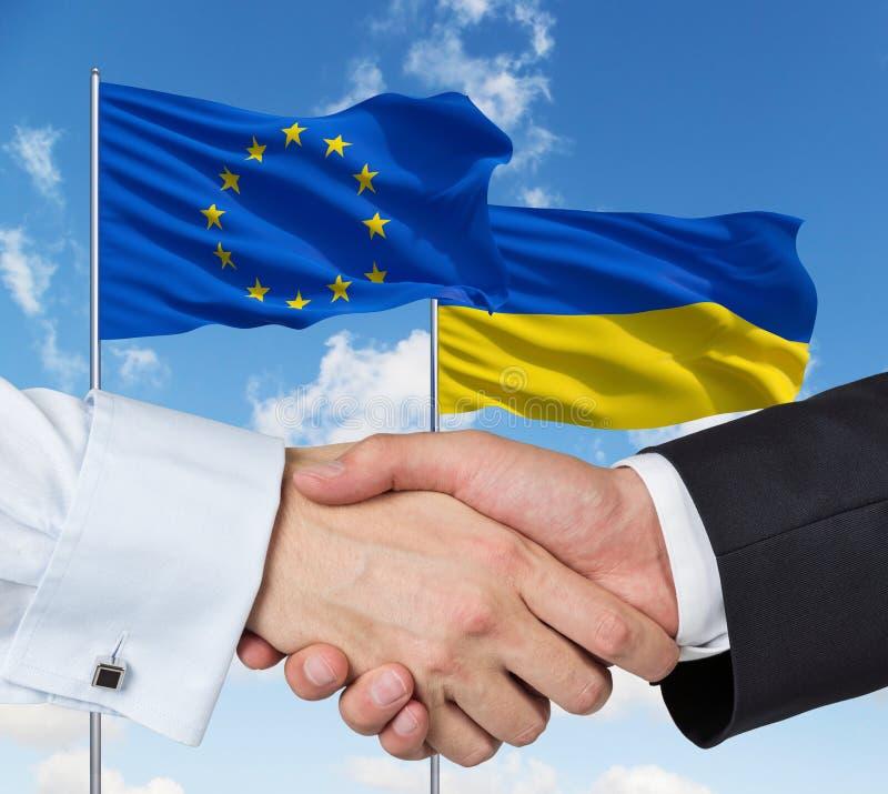 EU-ukrainarehandskakning royaltyfria foton
