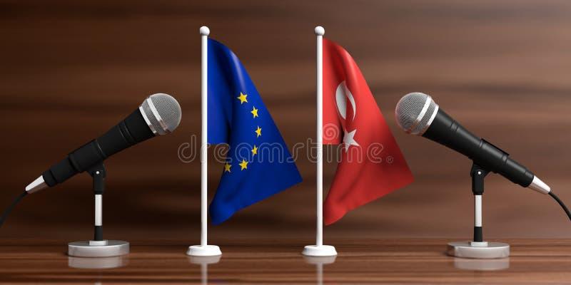 EU- und die Türkei-Miniaturflaggen Kabelmikrophone, hölzerner Hintergrund, Fahne Abbildung 3D stock abbildung