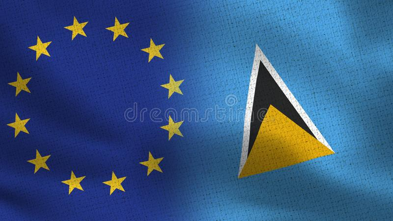 EU und Heiliges Lucia Realistic Half Flags Together stock abbildung