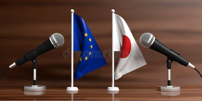 EU- und Japan-Miniaturflaggen Kabelmikrophone, hölzerner Hintergrund, Fahne Abbildung 3D stock abbildung