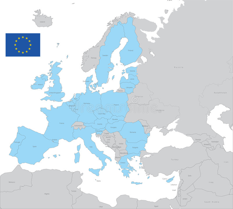 EU vector Map. With Flag stock illustration