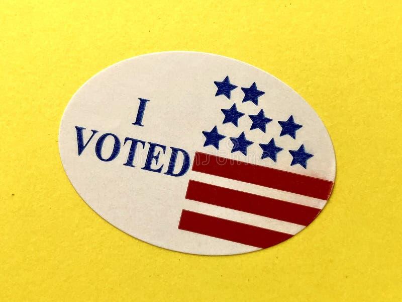 Eu votei a etiqueta fotografia de stock