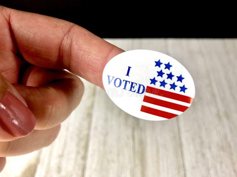Eu votei a etiqueta fotografia de stock royalty free