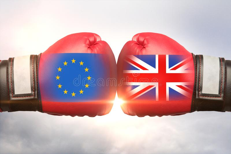 EU vs UK concept. Red boxing gloves with country flags against each other on cloudy sky background. EU vs UK concept. 3D Rendering royalty free illustration