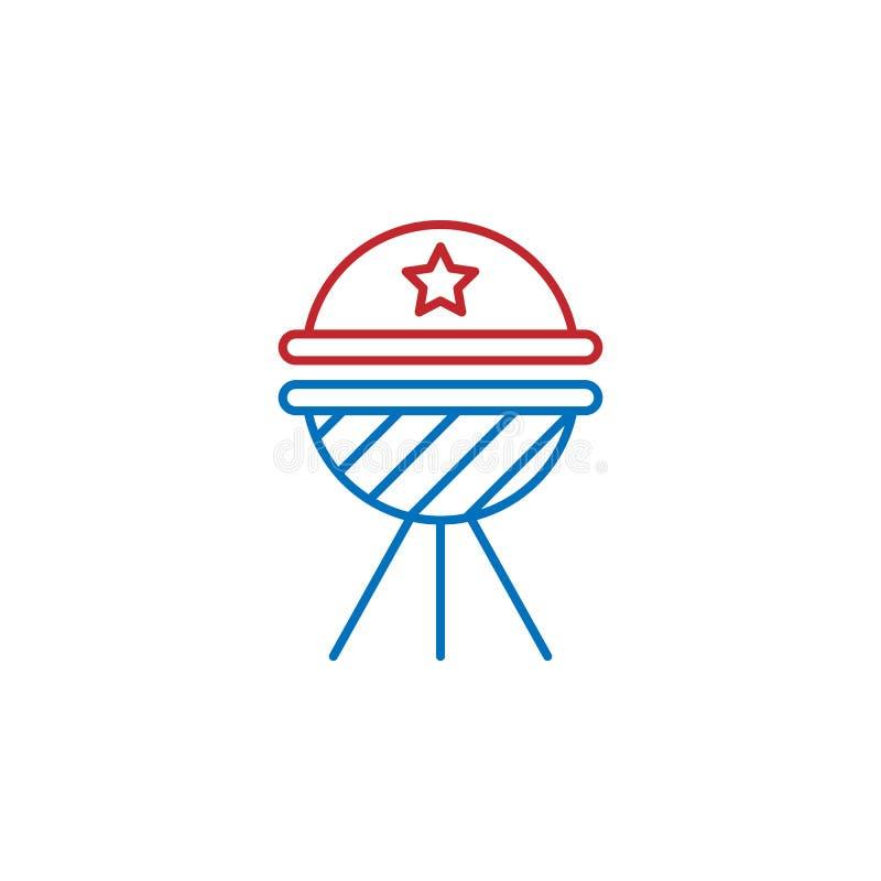 EUA, ícone do BBQ Elemento do ?cone da cultura dos EUA Linha fina ?cone para o projeto do Web site e o desenvolvimento, desenvolv ilustração do vetor
