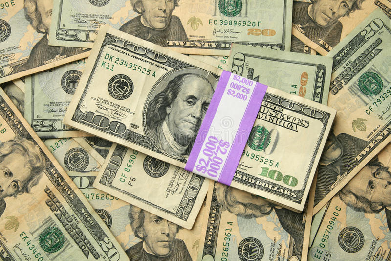 EUA 100 E 20 Contas De Dólar Fotos de Stock Royalty Free