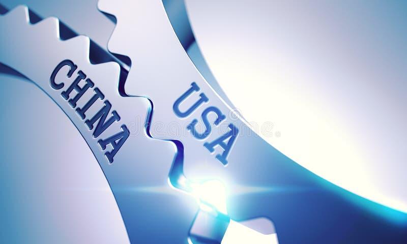 EUA China - texto no mecanismo das engrenagens do metal 3d ilustração stock
