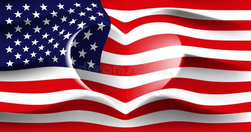 EUA com amor Bandeira nacional americana com as ondas dadas forma coração Fundo nas cores da bandeira americana Forma do coração, ilustração royalty free