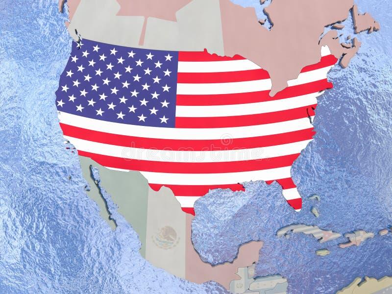 EUA com a bandeira no globo ilustração stock