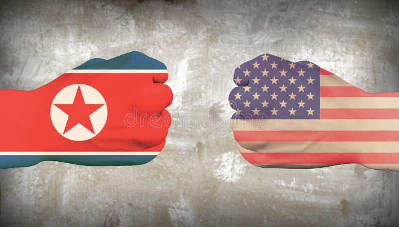 EUA contra a Coreia do Norte ilustração stock