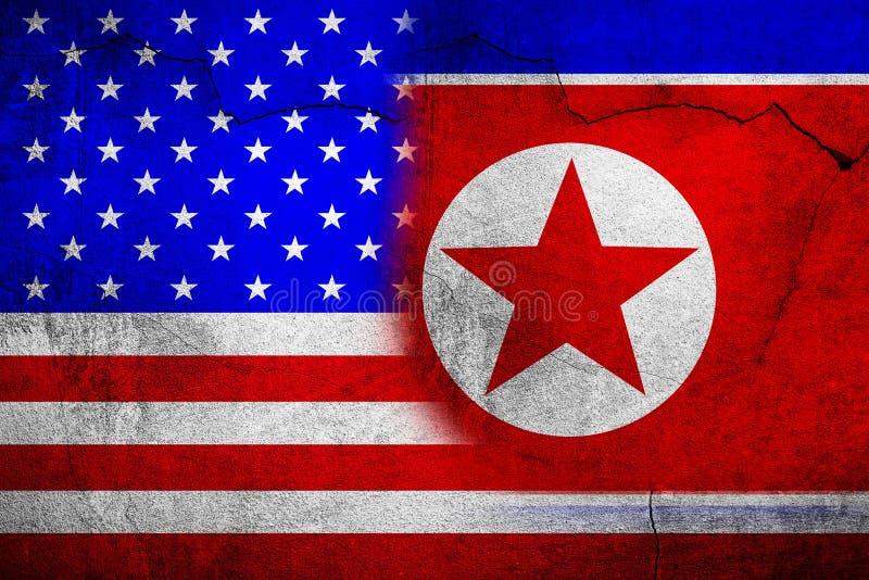 EUA e bandeira da Coreia do Norte pintada imagem de stock