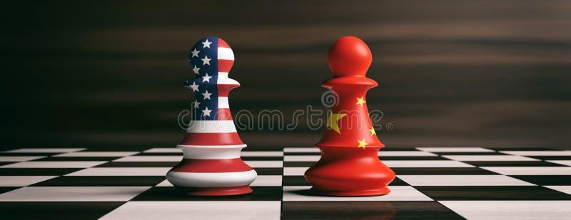 EUA e bandeiras de China em penhores da xadrez em um tabuleiro de xadrez ilustração 3D ilustração stock