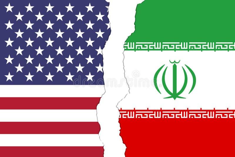 EUA e bandeiras de Irã que são rasgadas distante ilustração stock