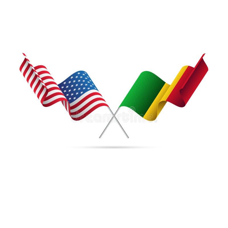 EUA e bandeiras de Mali Ilustração do vetor ilustração royalty free