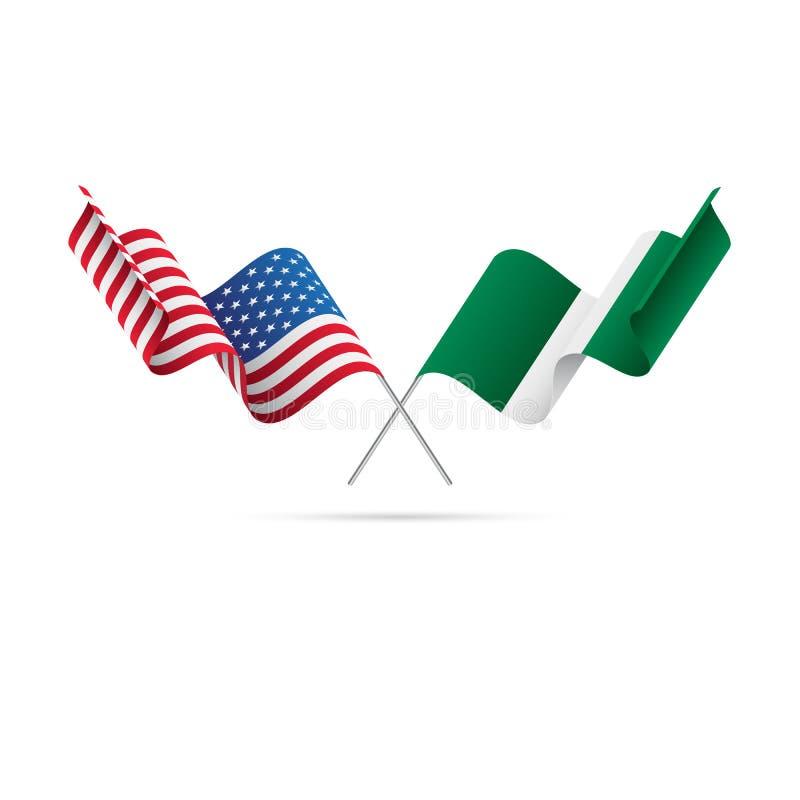 EUA e bandeiras de Nigéria Ilustração do vetor ilustração do vetor