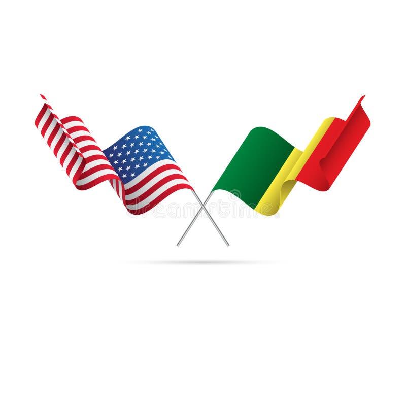 EUA e bandeiras de Senegal Ilustração do vetor ilustração royalty free