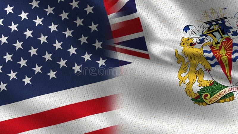 EUA e bandeiras realísticas do território antártico britânico meias junto ilustração royalty free