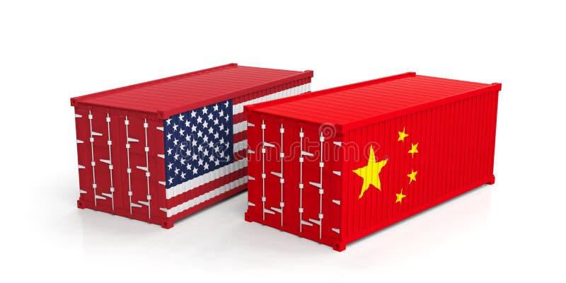 EUA e comércio de China Os E.U. de América e de chinês embandeiram os contentores isolados no fundo branco ilustração 3D ilustração royalty free