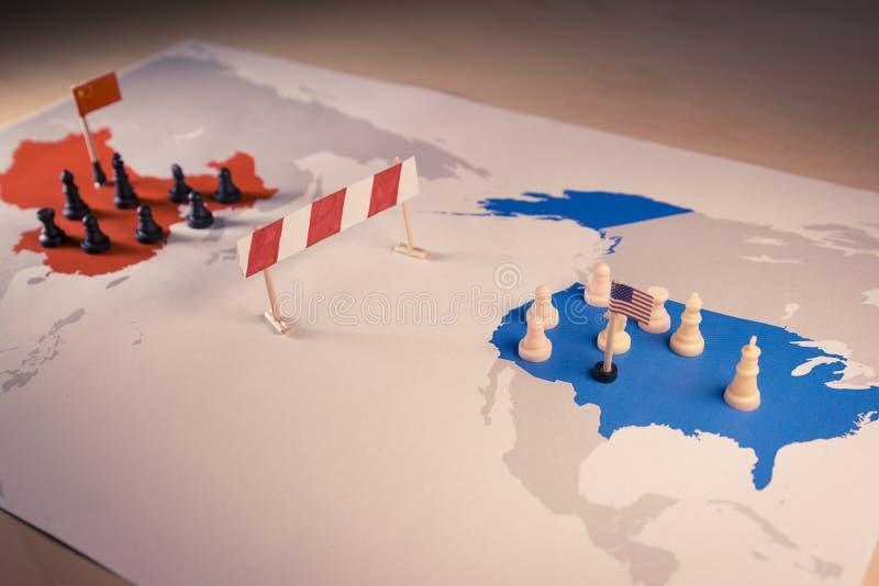 EUA e conceito da guerra comercial de China fotografia de stock