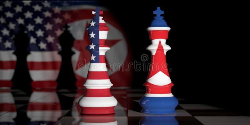 EUA e Coreia do Norte E.U. América e bandeiras da Coreia do Norte em reis da xadrez em uma placa de xadrez ilustração 3D ilustração stock