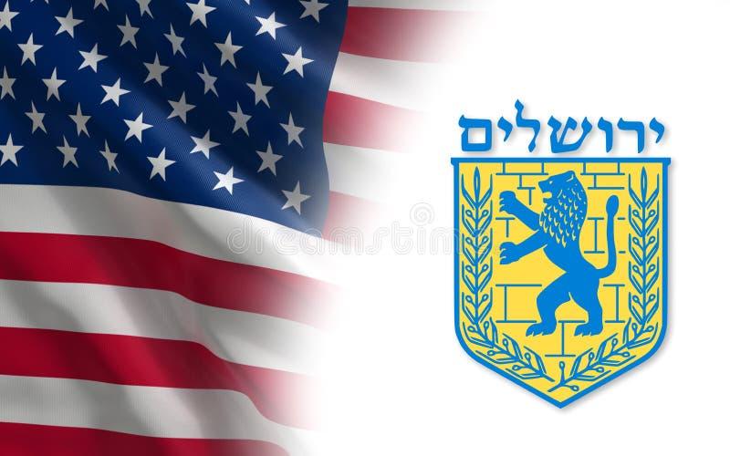 EUA e emblema do Jerusalém ilustração do vetor