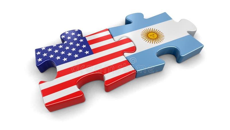 EUA e enigma de Argentina das bandeiras ilustração stock