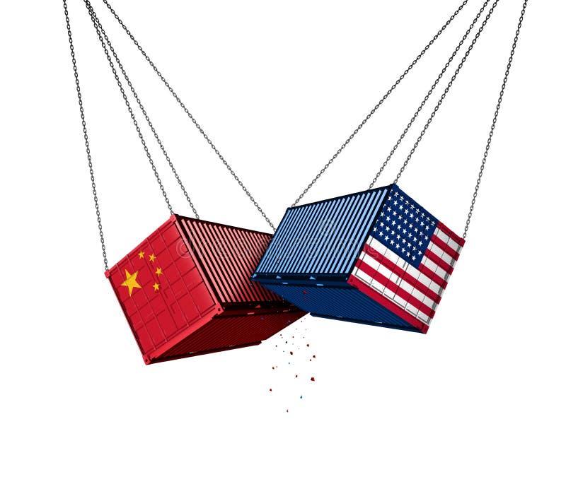 EUA e guerra comercial de China ilustração royalty free