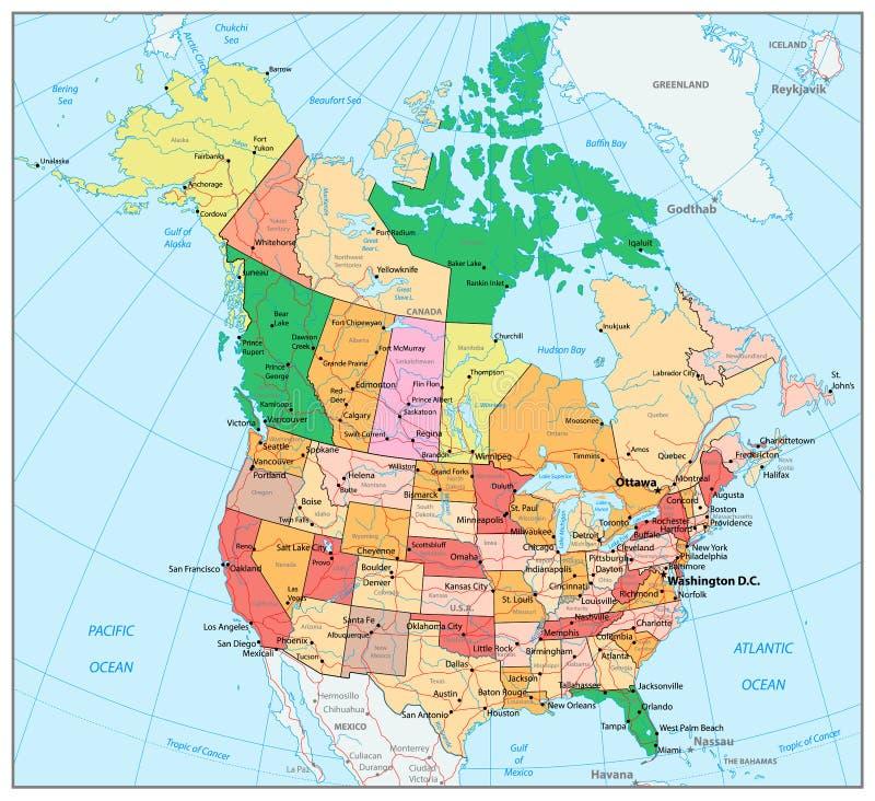 EUA e mapa político detalhado com estados, provinc de Canadá grande ilustração stock