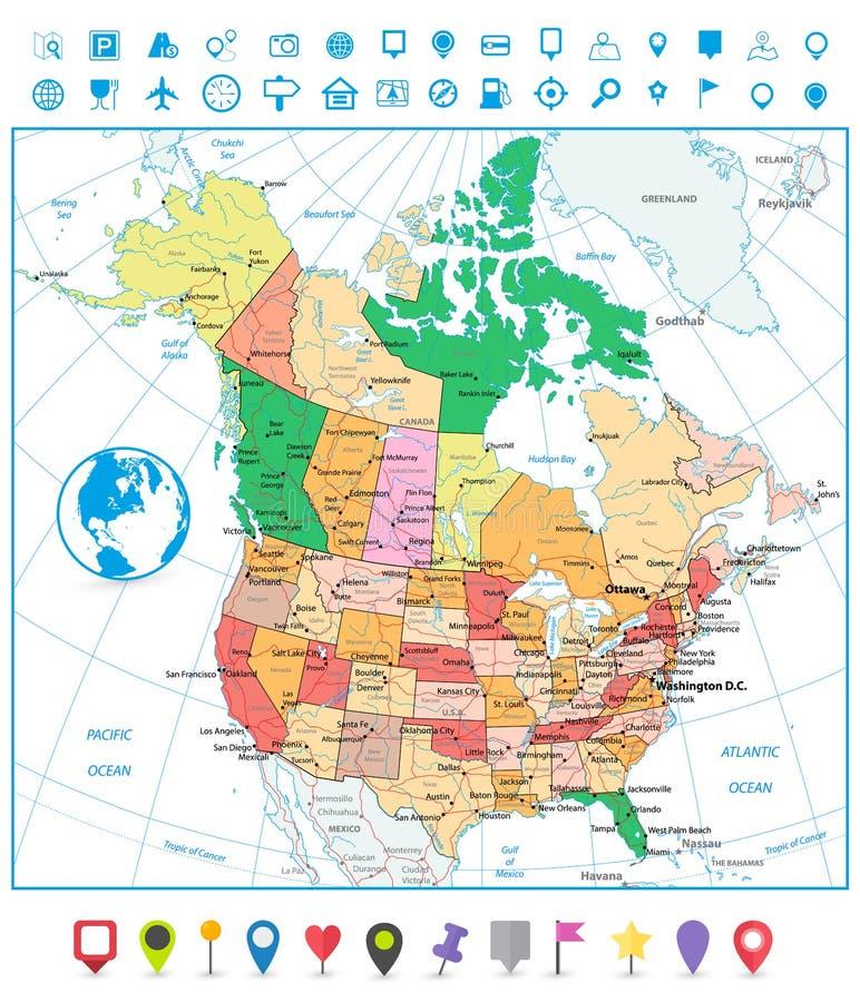 EUA e mapa político detalhado de Canadá grande com estradas e navig ilustração royalty free