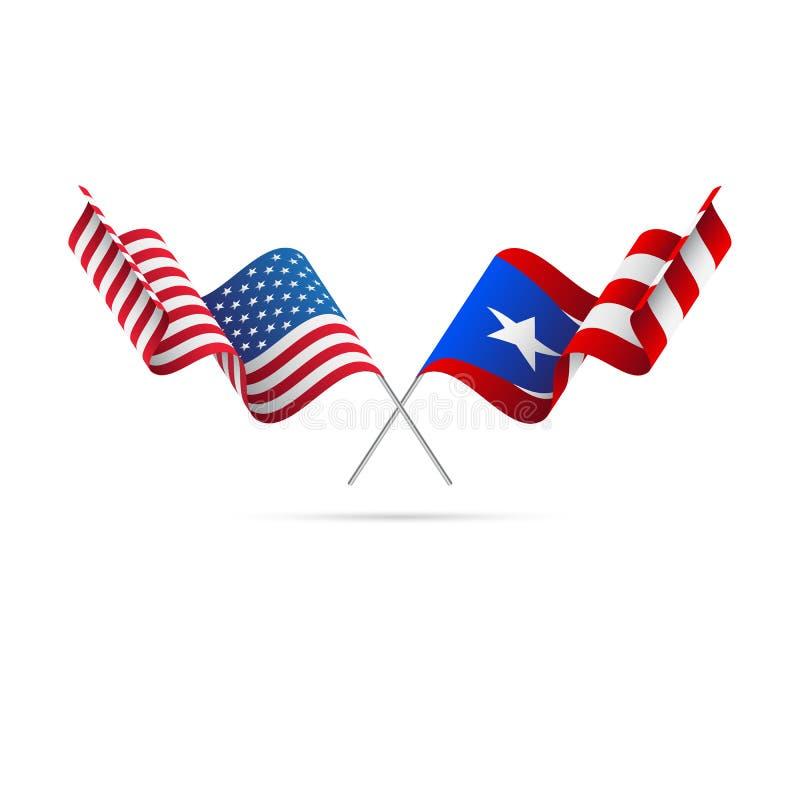 EUA e Puerto Rico Flags Ilustração do vetor ilustração royalty free