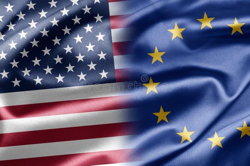 EUA e UE ilustração stock