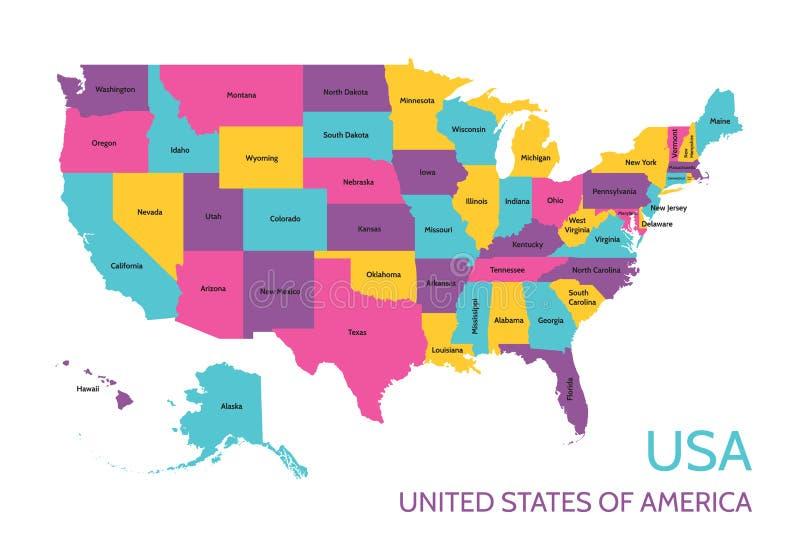 EUA - Estados Unidos da América - mapa colorido do vetor com a divisão em estados ilustração stock