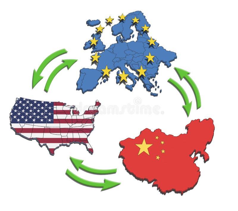 EUA, Europa e China Interatction. ilustração do vetor